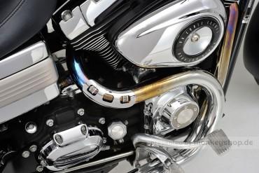 Daytona Hitzeschutzblech Stahl verchromt Bogen 45° offen