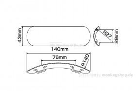 Daytona Hitzeschutzblech Stahl verchromt Bogen außen geschlossen