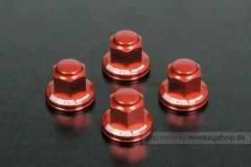 Takegawa Aluminium Hutmuttern Set M10 Stoßdämpferaufnahme rot eloxiert Monkey Dax