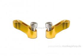 Spiegelverlängerungen Set Aluminium gelb eloxiert M10 f. Monkey + Super Cub 125