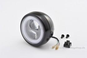 Daytona 120 mm (4 1/2 Zoll) LED Hauptscheinwerfer CAPSULE schwarz Montage seitl.