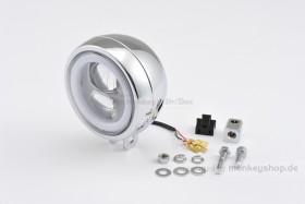Daytona 120 mm (4 1/2 Zoll) LED Hauptscheinwerfer CAPSULE chrom Montage unten