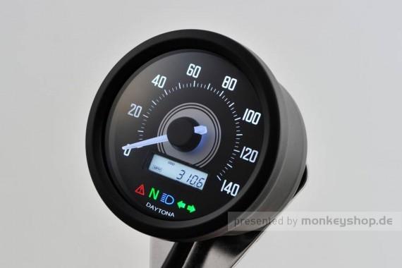 Daytona Velona ø60 Tachometer 140 km/h schwarz