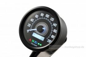 Daytona Velona ø60 Tachometer 200 km/h schwarz