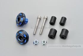 Daytona CRYSTAL Lenkerenden Set Aluminium blau schwarz 2-farbig eloxiert 14 - 19 mm