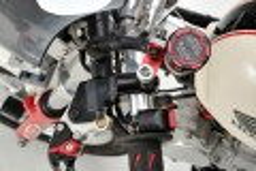 """Daytona Deckel Behälter Bremsflüssigkeit """"TKM"""" für NISSIN 38mm 2-farbig eloxiert rot schwarz"""