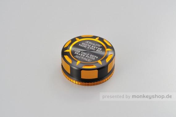 """Daytona Deckel Behälter Bremsflüssigkeit """"TKM"""" für NISSIN 38mm 2-farbig eloxiert gold schwarz"""