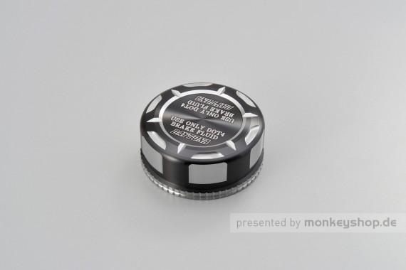 """Daytona Deckel Behälter Bremsflüssigkeit """"TKM"""" für NISSIN 38mm 2-farbig eloxiert silber schwarz"""