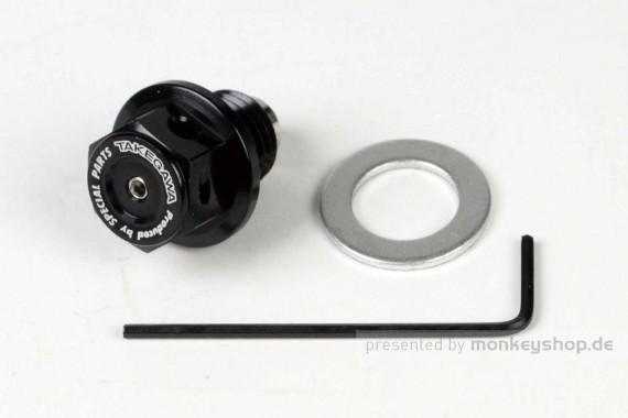 Takegawa Öl Ablass Schraube M12 x 1.5 Magnet Adapter Öltemperatur Aluminium schwarz eloxiert