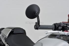 """Daytona """"D-MIRROR-3"""" Aluminium Lenkerenden Spiegel schwarz ROUND exzentrisch"""