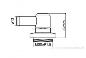 Takegawa Motorentlüftungsadapter 90° 12mm M30xP1.5