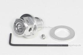 Takegawa Öl Ablass Schraube M12 x 1.5 Magnet Adapter Öltemperatur Aluminium silber eloxiert
