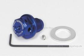 Takegawa Öl Ablass Schraube M12 x 1.5 Magnet Adapter Öltemperatur Aluminium blau eloxiert