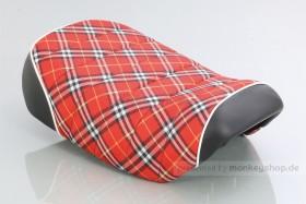 Kitaco Sitzbank Typ Tuck Roll rot kariert mit weißem Keder f. Monkey 125 Z125MA
