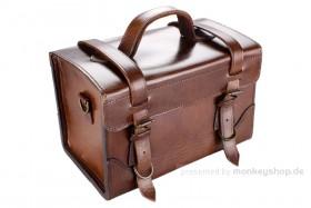 Gepäcktasche Leder dunkelbraun 9-Liter