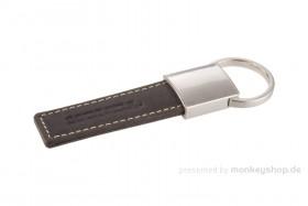Honda Schlüsselanhänger braun Echtleder Metall 30x100 mm