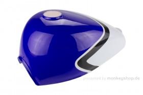 Monkey Tank blau / weiß mit Benzinhahn